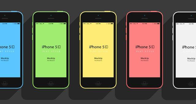 iPhone 5C Flat Design Mockup