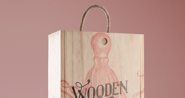 Psd Wine Wood Box Mockup Vol3