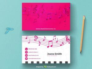 Musical magenta business card template