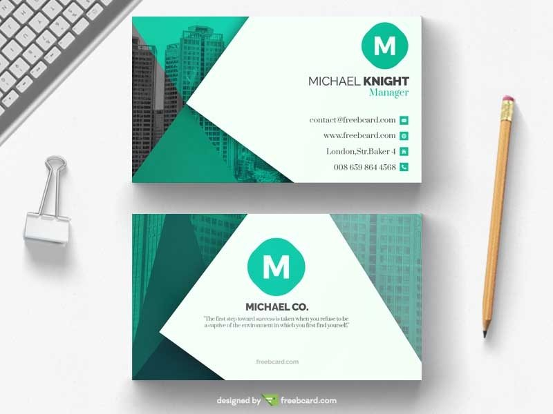 Green office business card template