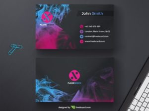 Dark business card template with colored ink drops