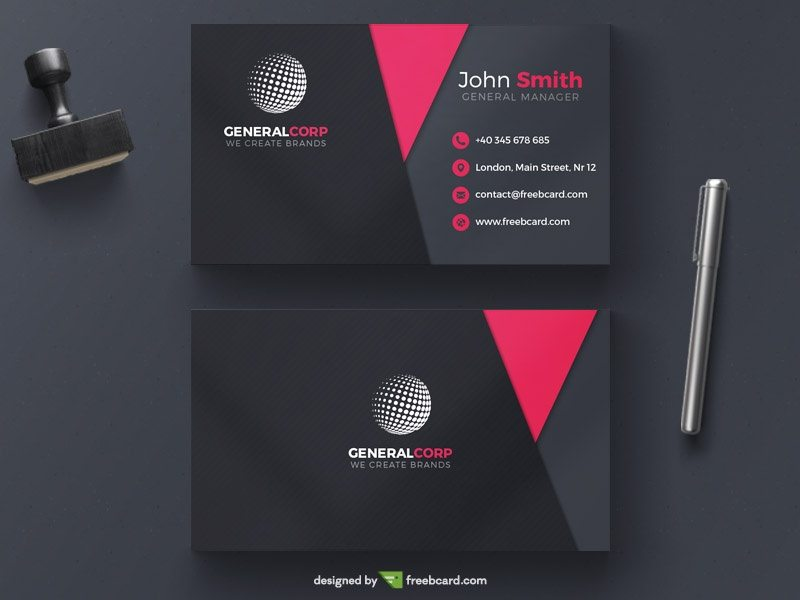 Creative Pink and black corporate business card