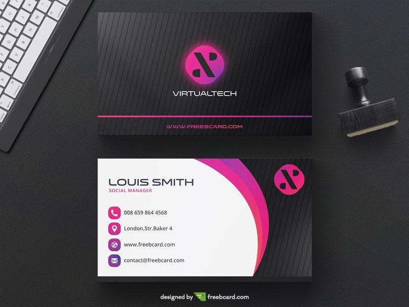 Purple and black tech business card
