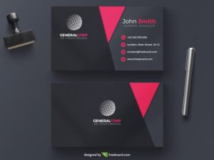 Pink and black corporate business card