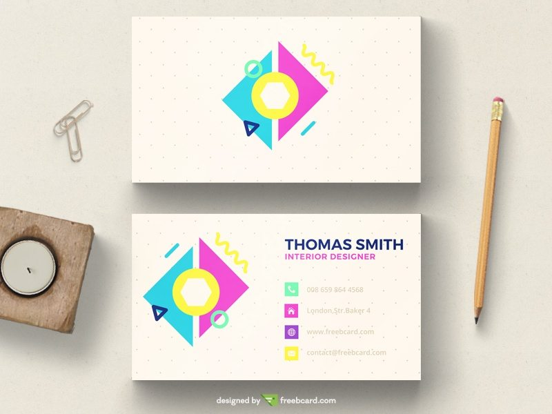 Colorful pastel minimal business card