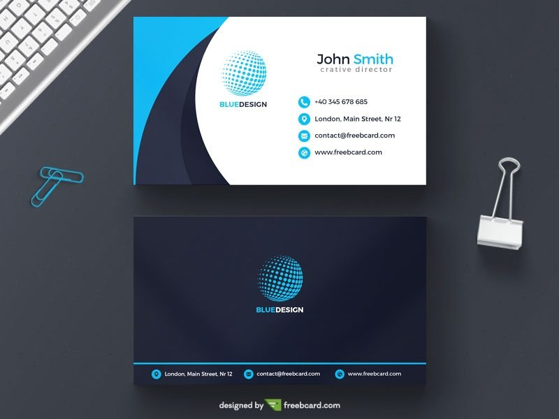 Light blue agency business card template
