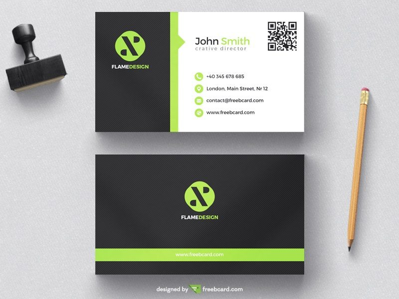 Green and black corporate business card template
