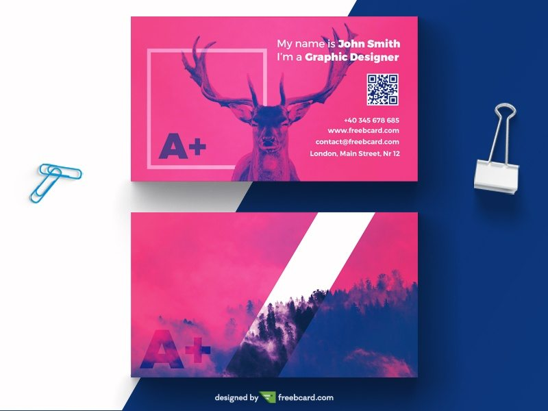 Creative purple business card with deer