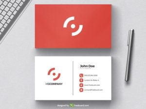 Clean red business card design