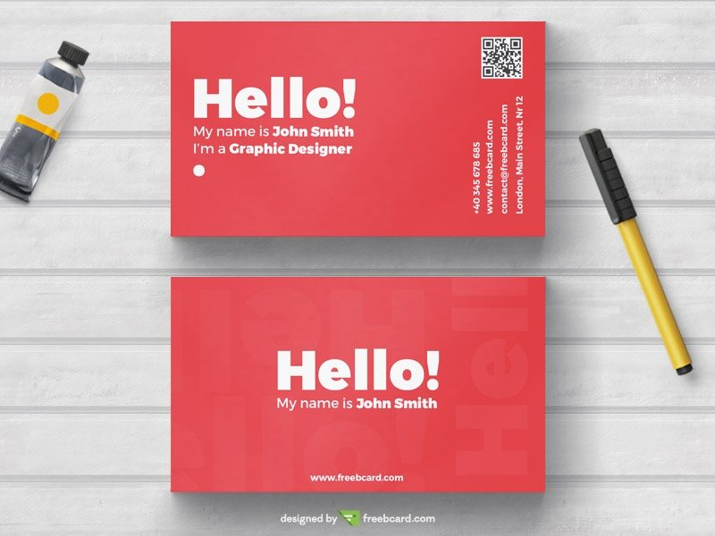 Minimal red business card template