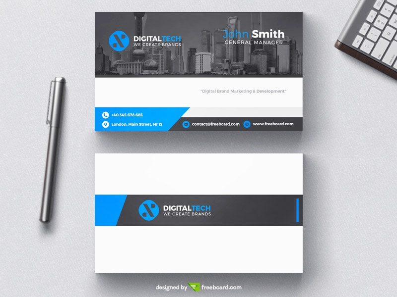 Digital tech business card template