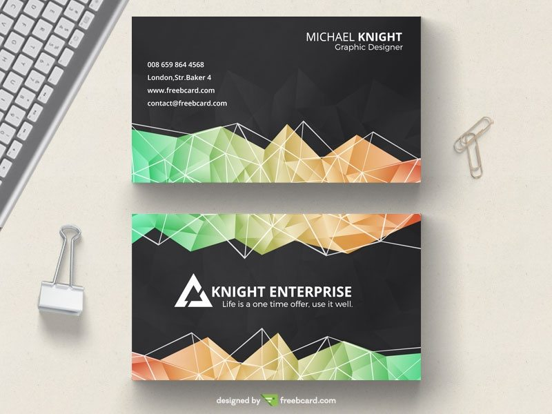 Dark polygonal business card