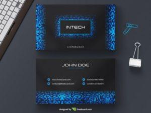 Blue tech pixel business card