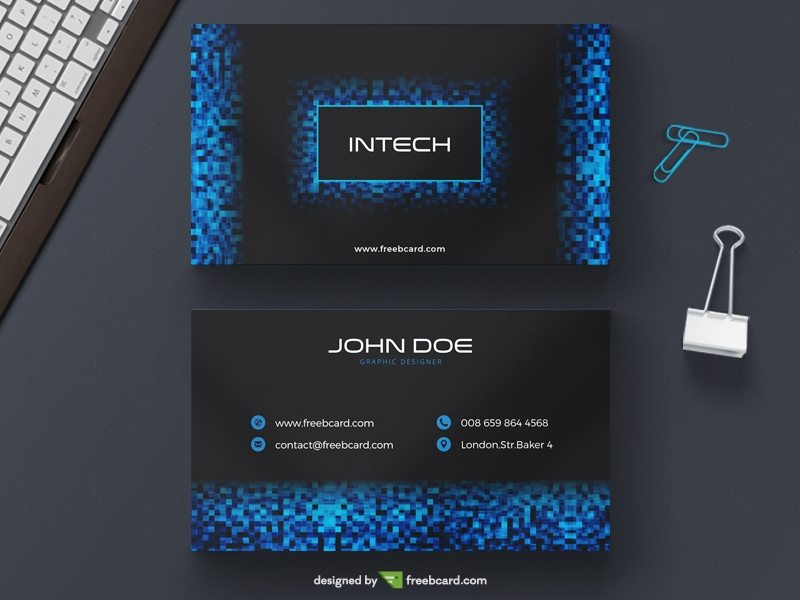 Blue tech pixel business card