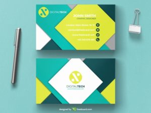 Geometric minimal green business card
