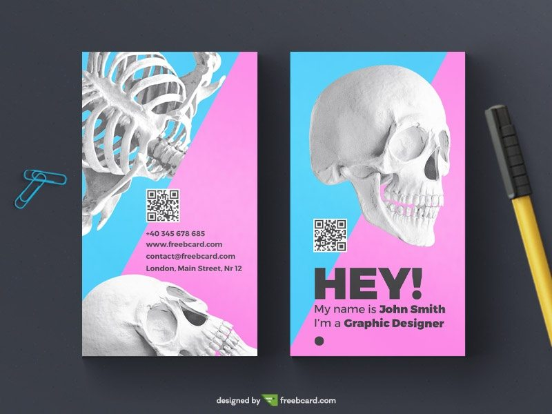 Creative skull business card template
