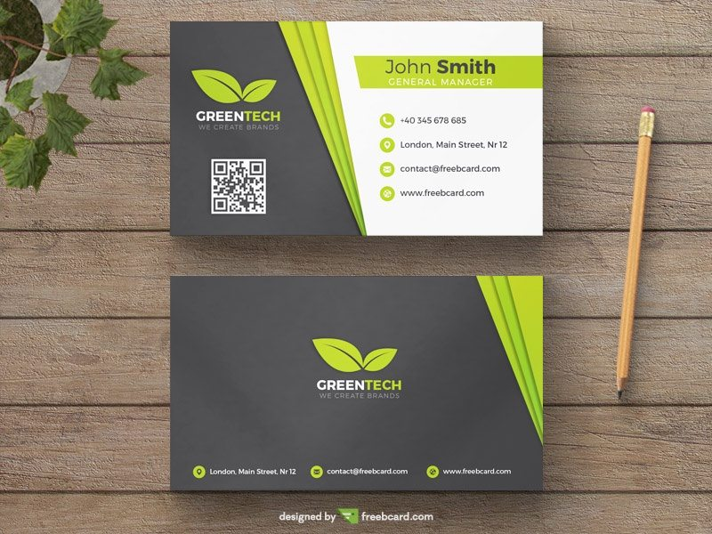 Green and grey natural business card template