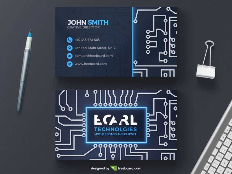 Technological circuit business card template