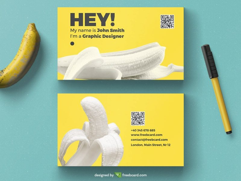 Yellow banana business card tempalte