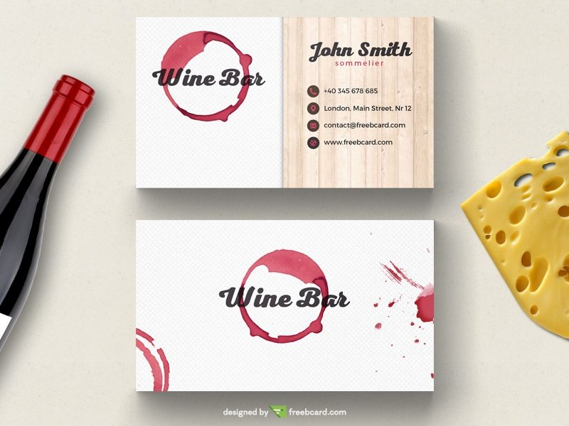 Wine bar business card template