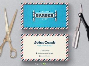 Vintage barber shop business card template
