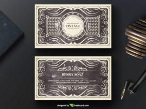 Elegant black vintage business card template