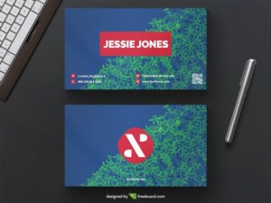 Creative blue and green business card on bush background