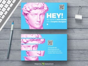 Minimal agency business card with statue head