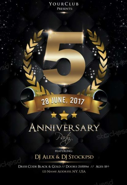 Anniversary Night Free PSD Flyer Template