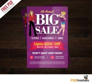 Creative Big Sale Colorful Flyer Free PSD Template