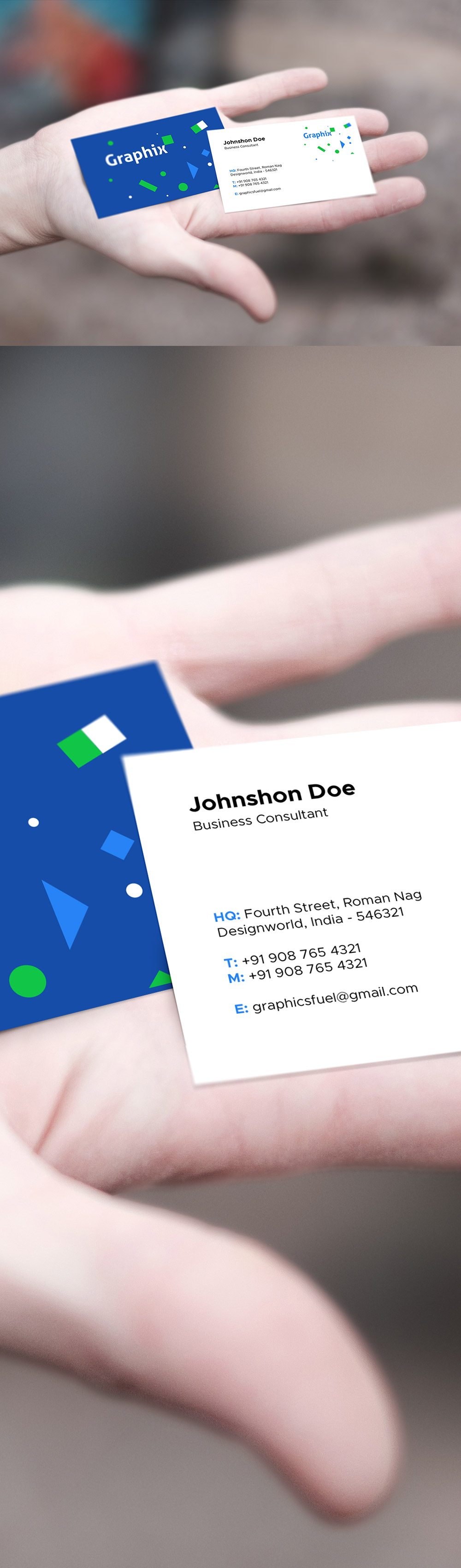 Creative Business Card In Hand Mockup
