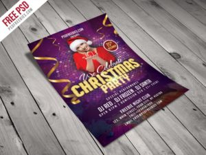 Creative Christmas Night Party Flyer Template Free PSD