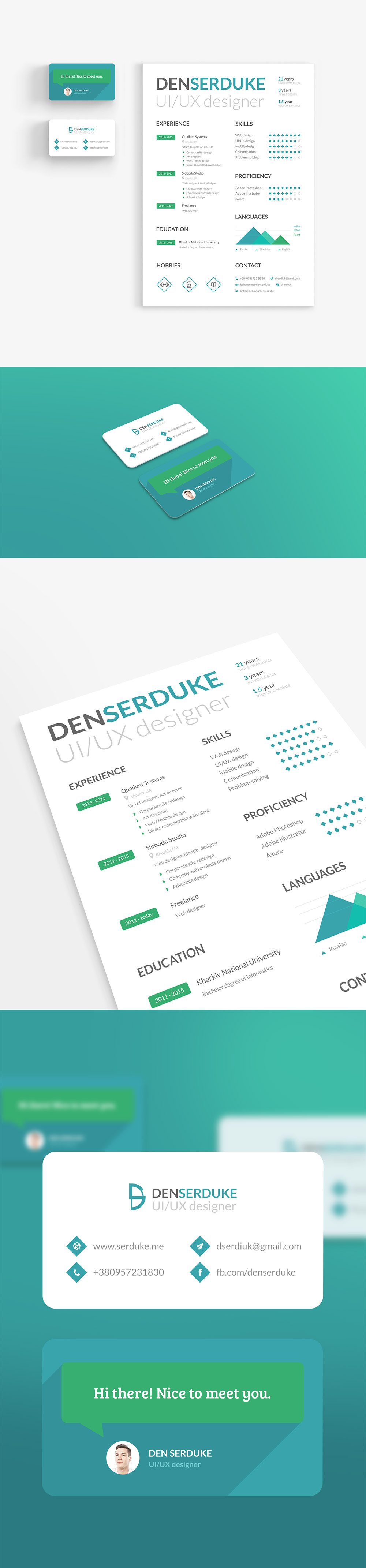 Creative Creative Resume Template and Business Card Identity Free PSD Set