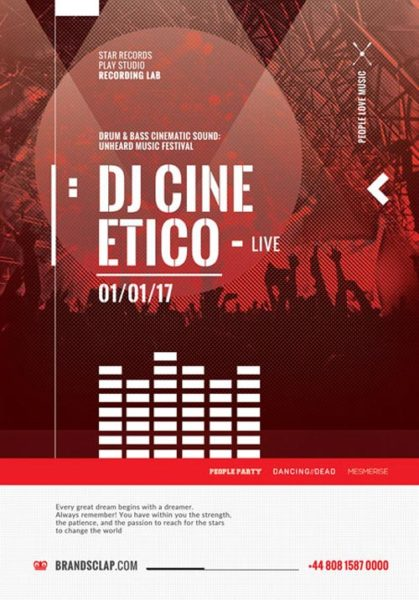 DJ Cine Live Free PSD Flyer Template