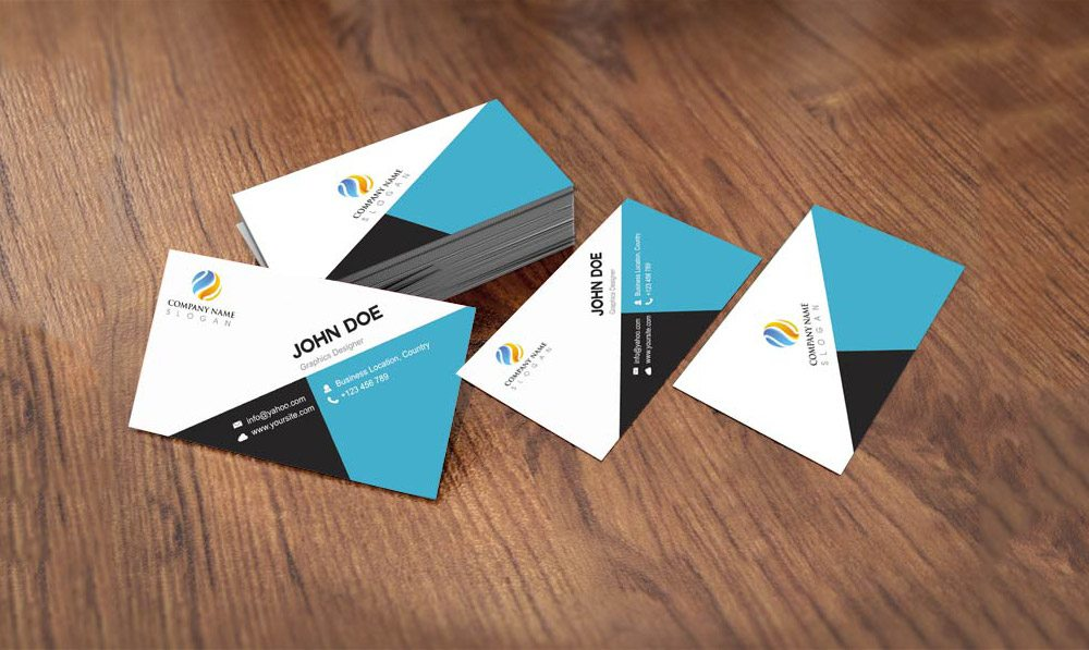 Creative Flat Style Business Card Template Design Free PSD