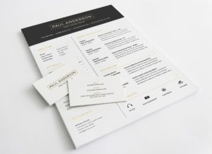 Creative Free Resume with Business Card Template PSD