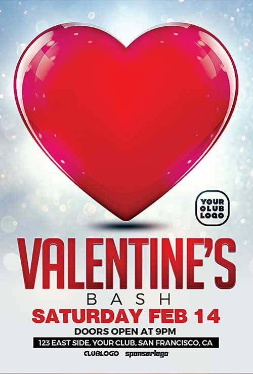 Valentine's Bash Free PSD Flyer Template