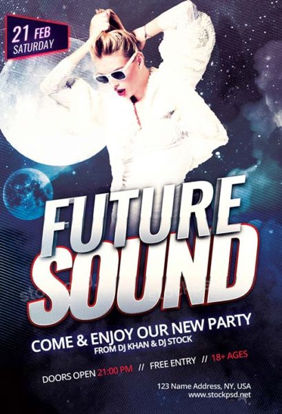 Future Sound Party Free PSD Flyer Template