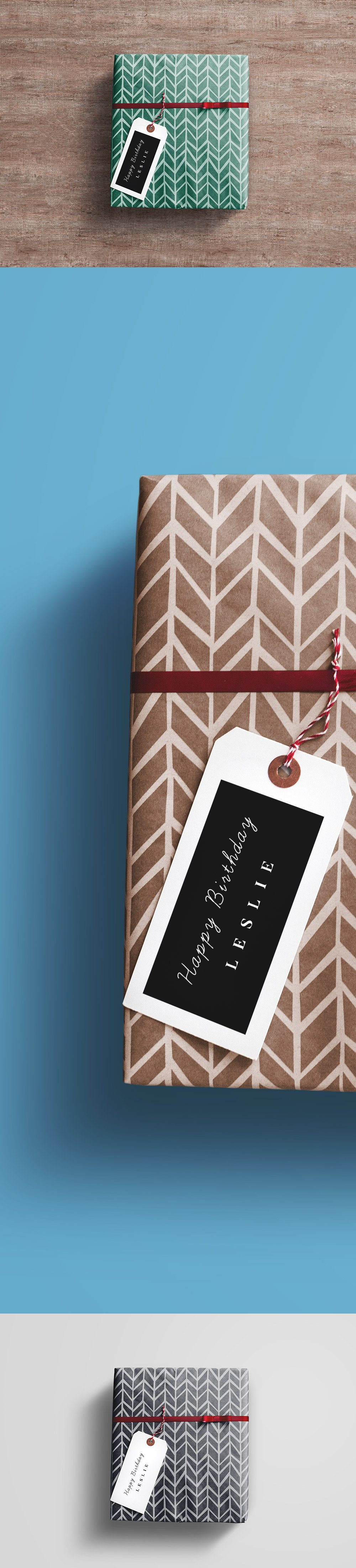 Creative Gift Wrap Box PSD Mockup