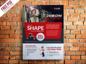 Creative Gym and Fitness Club Flyer Template Free PSD