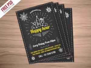 Creative Happy Hour Party Invitation Flyer Free PSD