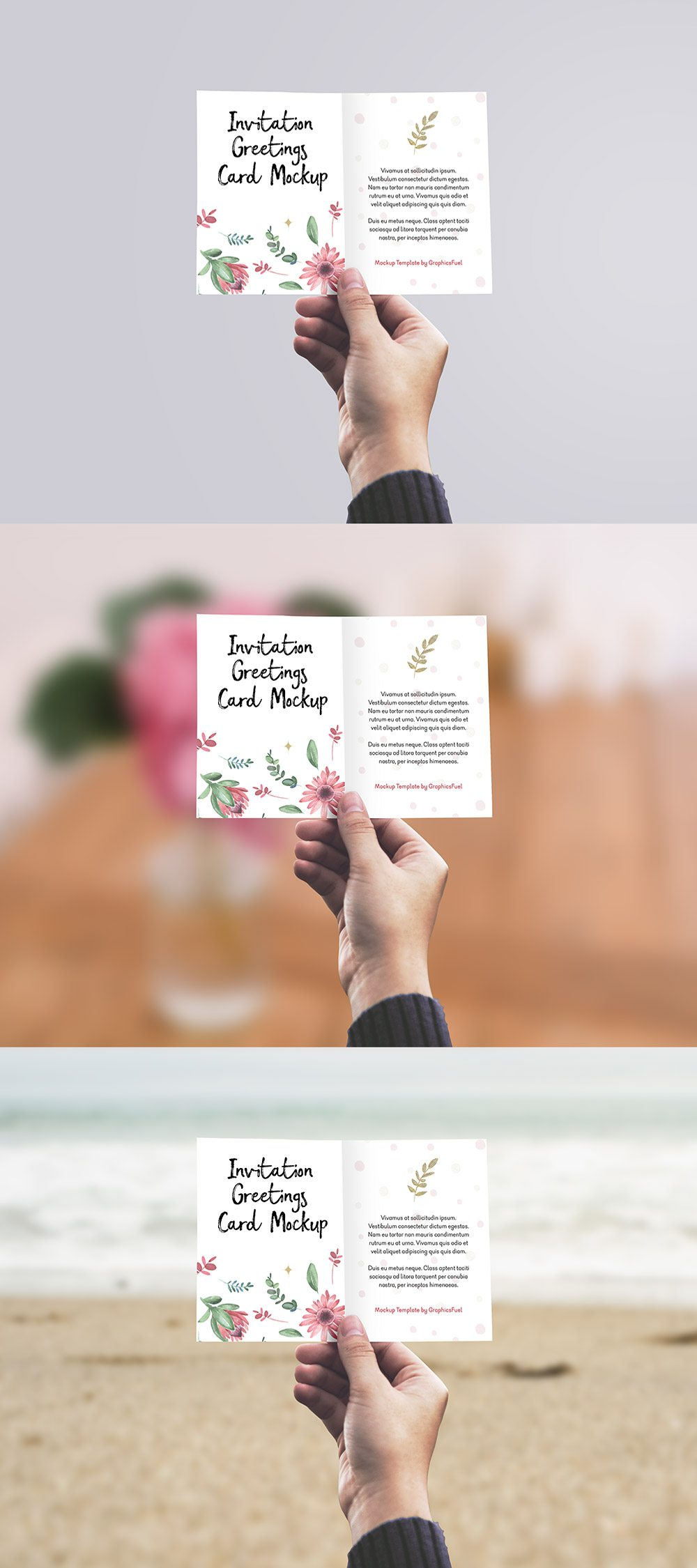 Creative Invitation / Greeting Card in Hand Mockup PSD