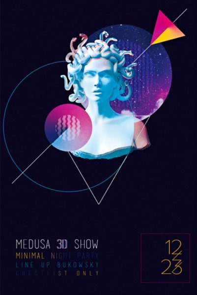 Medusa Electro Party Free Flyer Template