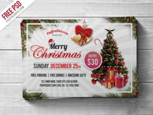 Creative Merry Christmas Party Flyer PSD Template