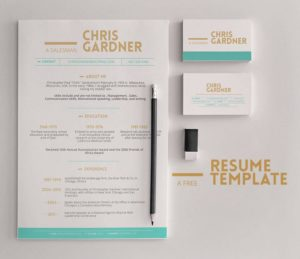 Creative Minimalistic Free Resume and Business Card Template PSD
