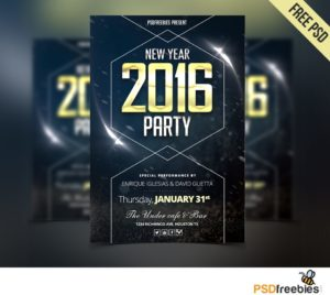 Creative New Year Party Flyer Free PSD