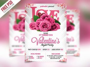 Creative Premium Valentines Party Flyer PSD Template