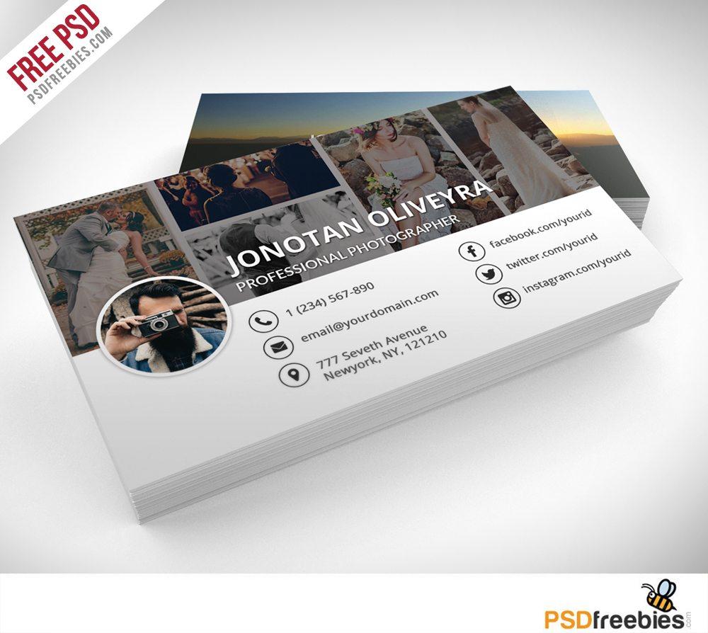 Creative Professional Photographer Business Card PSD Template Freebie