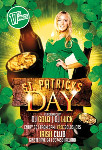St. Patricks Day Party Free PSD Flyer Template