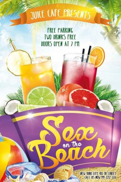 Sex on the Beach Free Flyer Template